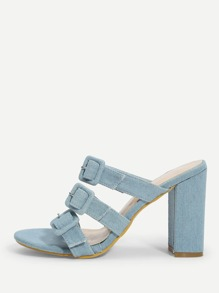 Buckle Strap Denim Heeled Mules