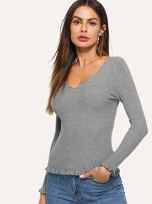 Frill Trim Solid V Neckline Sweater