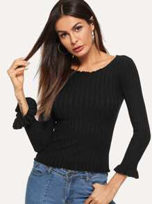 Frill Trim Solid Ribbed Sweater