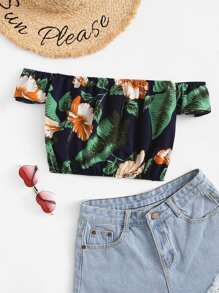 Off Shoulder Floral Print Crop Top