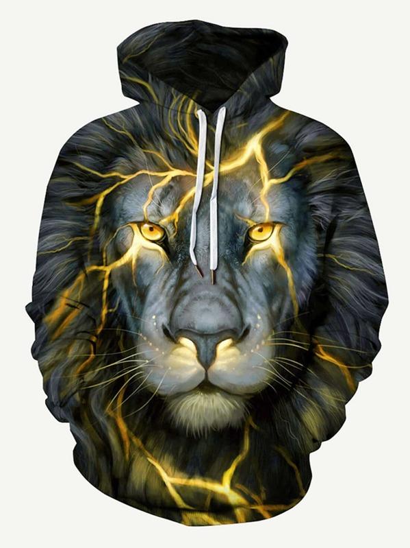 2690ef56a049 Men 3D Lion Print Hooded Sweatshirt