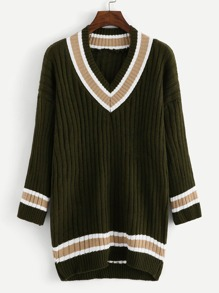 Drop Shoulder Striped Trim Jumper