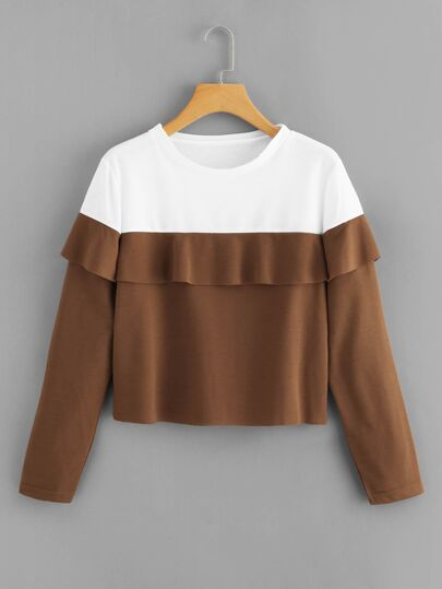 Ruffle Trim Color Block Sweatshirt