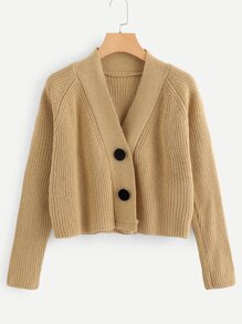 Rib Knit Trim Button Detail Sweater
