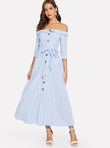 Foldover Off Shoulder Button Up Pinstripe Dress