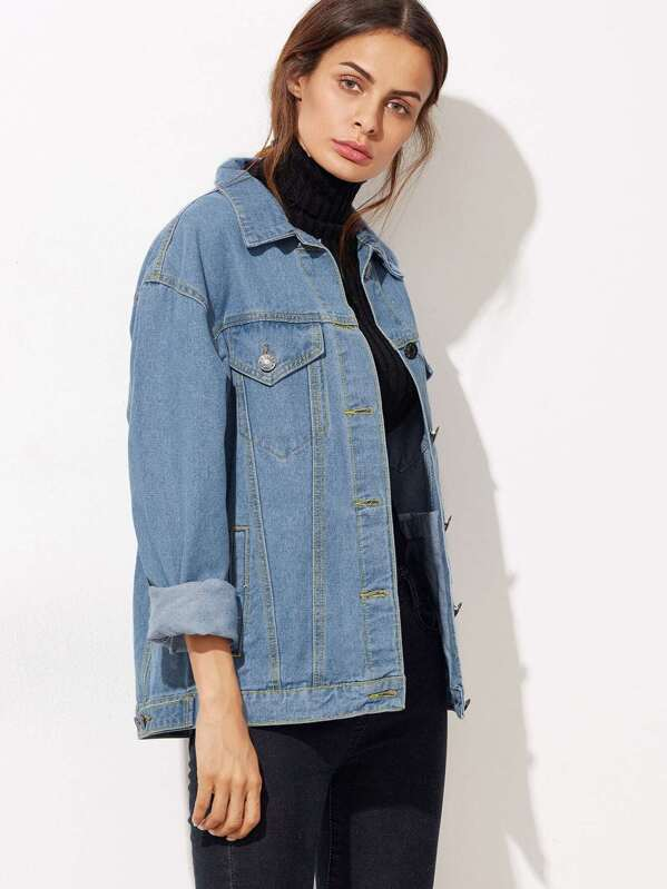 907fb037b4a891 Button Front Pockets Boyfriend Denim Jacket