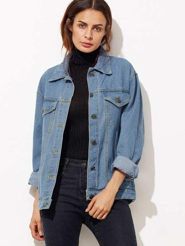 dfdc5bed0a9 Button Front Pockets Boyfriend Denim Jacket