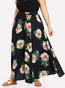 Plus Waist Belted Striped Floral Skirt