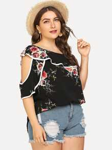 Plus Oblique Shoulder Floral Print Blouse