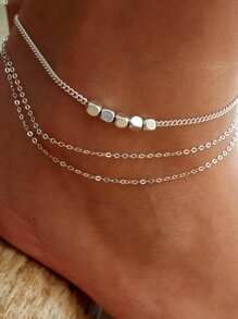 Metal Decorated Layered Chain Anklet