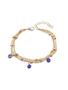 Metal Bead Decorated Layered Chain Anklet