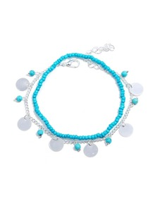 Flat Disc Design Anklet 2pcs