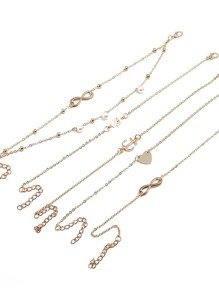 Infinity & Anchor Layered Chain Anklet 5pcs
