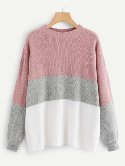 Plus Color Block Waffle Knit Sweater