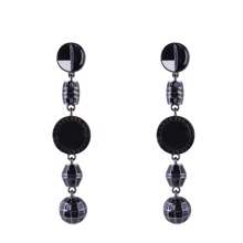 Ball Detail Layered Round Drop Earrings