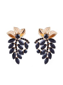 Rhinestone Leaf Shaped Stud Earrings 1pair