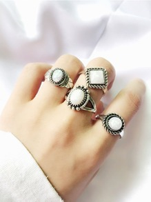 Geometric Gemstone Ring Set 4pcs