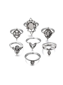 Hollow Detail Ring Set 7pcs