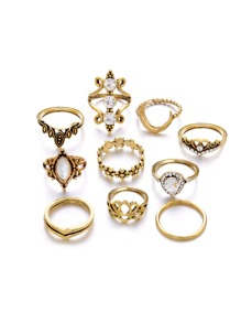Moon & Flower Ring Set 10pcs