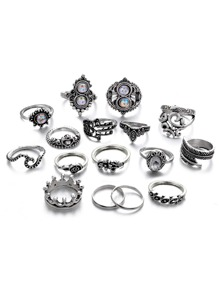 Heart & Feather Detail Ring Set 16pcs