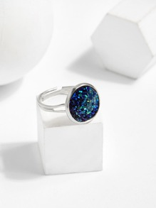 Glitter Round Design Ring 1pc