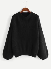 Plus Bishop Sleeve Solid Jumper