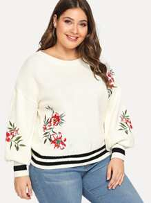 Plus Floral Embroidery Striped Trim Jumper