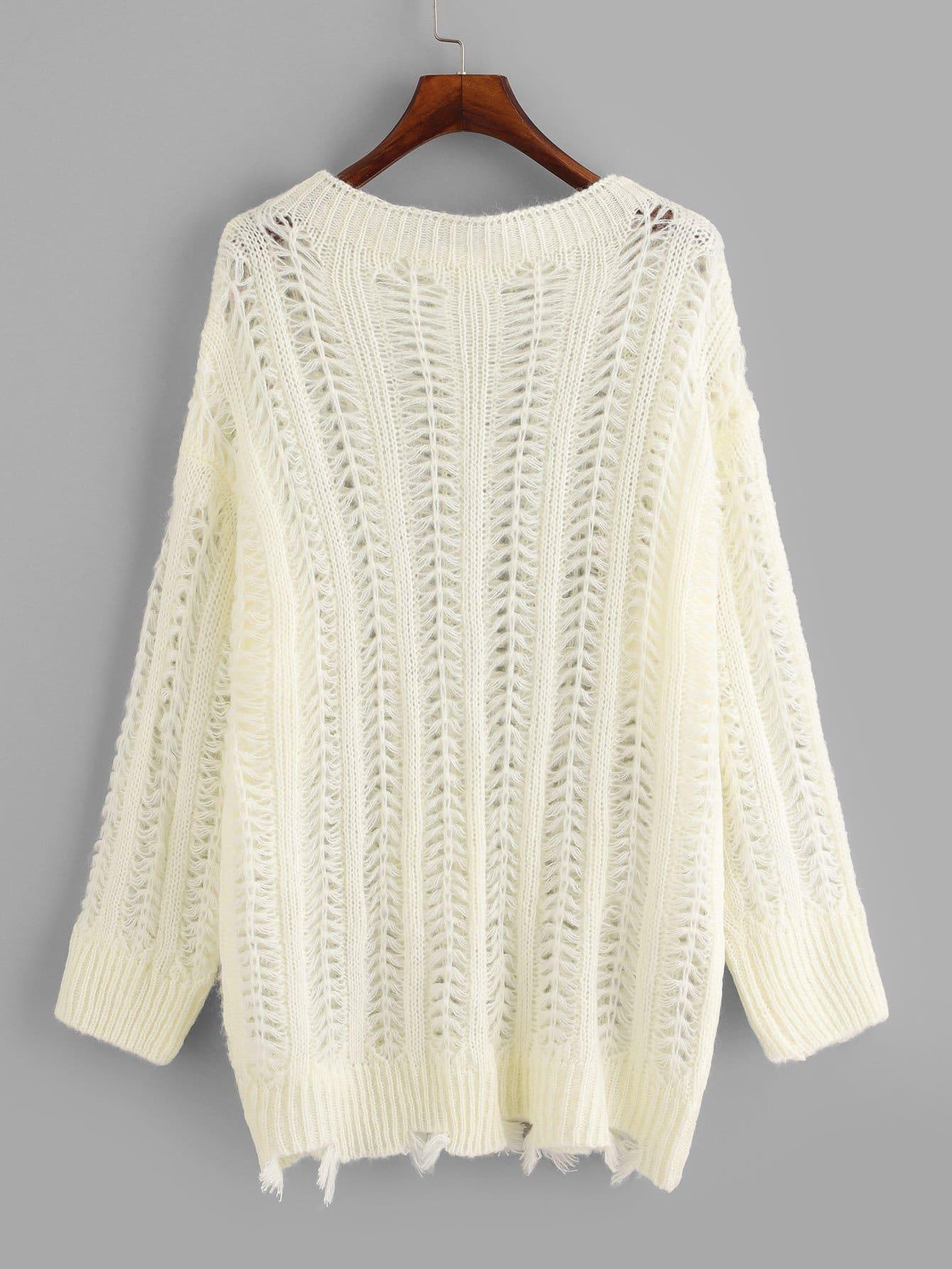Suéter bajo cortado crudo tejido amplio-grande-Spanish SheIn(Sheinside)
