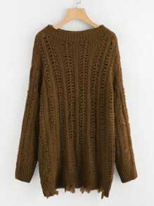Plus Loose Knit Raw Cut Hem Jumper
