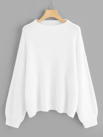 Plus Bishop Sleeve Solid Sweater