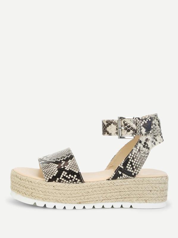 44277ded881 Snake Print Espadrille Flatform Sandals