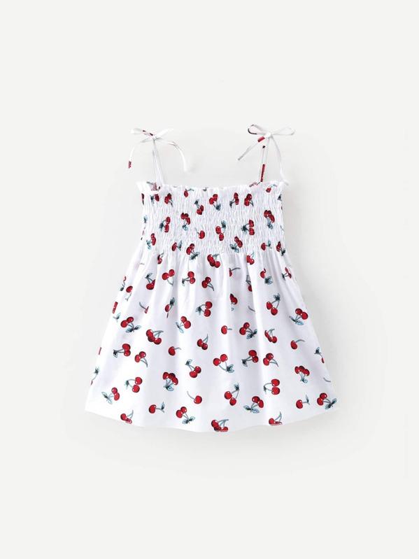 2b66d91510 Toddler Girls Cherry Print Shirred Cami Dress | SHEIN