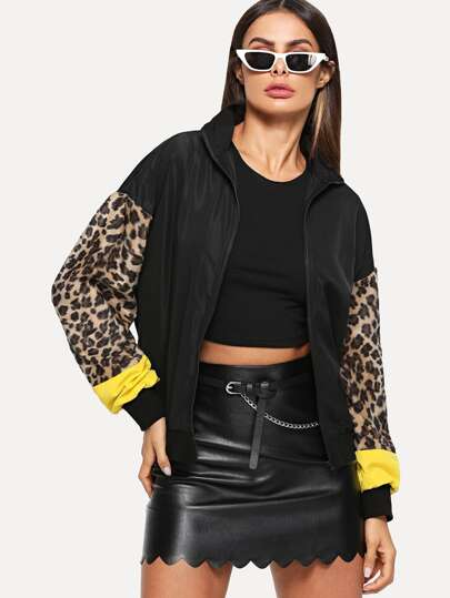 Zip Up Contrast Leopard Sleeve Jacket