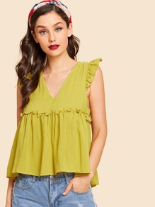 Tied Back Ruffle Trim Smock Top