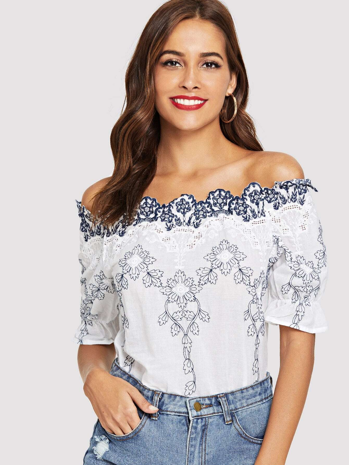 46feb17160453 Off-Shoulder Flower Embroidered Blouse EmmaCloth-Women Fast Fashion ...