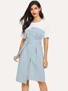 Colorblock Belt Split Front Dress