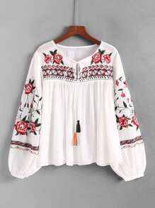 Tassel Tie Embroidered Blouse