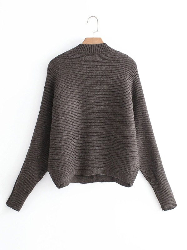 8154b5e512 Solid Ribbed Batwing Sleeve Sweater