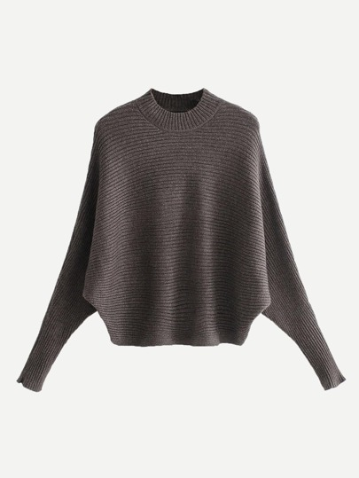 63ca1ce57 Solid Ribbed Batwing Sleeve Sweater