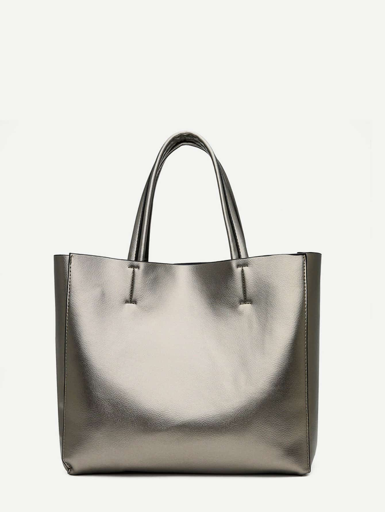 Metallic Tote Bag With Inner Pouch