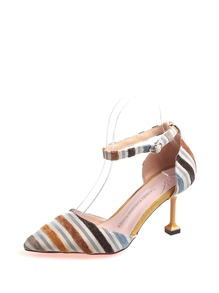 Striped Detail Velvet Heels