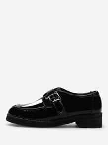 Buckle Strap Chunky Brogue Shoes