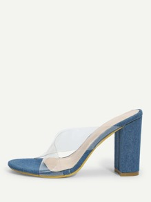 Criss Cross Clear Heeled Mules