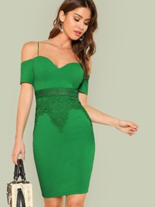 Open Shoulder Lace Insert Form Fitting Dress