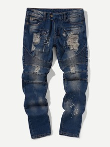 Men Destroyed Ruched Jeans