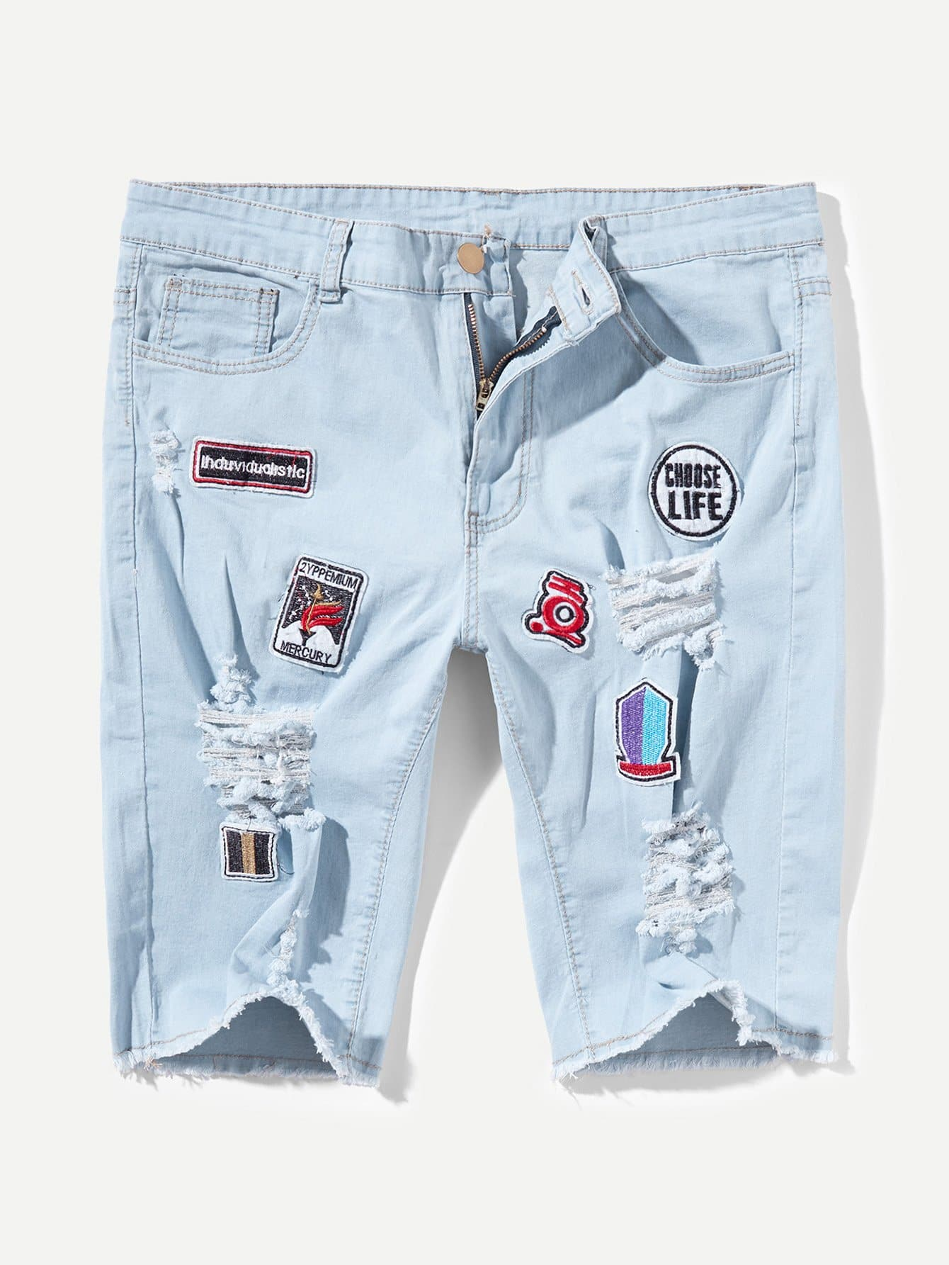 Men Patched Destroyed Denim Shorts Men Patched Destroyed Denim Shorts