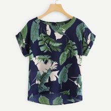 Plus Tropical Print Dip Hem Blouse