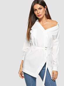 Single Breasted Belted Blouse