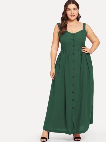 check out 0effb 98a1b Abiti taglie forti Bottoni Colore unico Verde Look elegante
