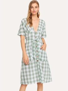 Single Breasted Plaid Belted Dress